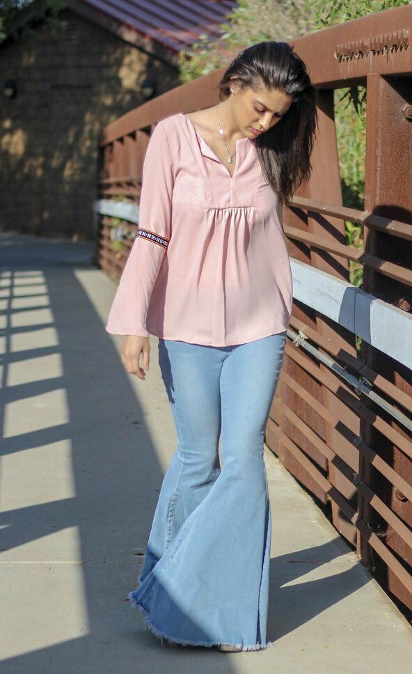 Whistling Dixie Dusty Pink Bell Sleeves Top