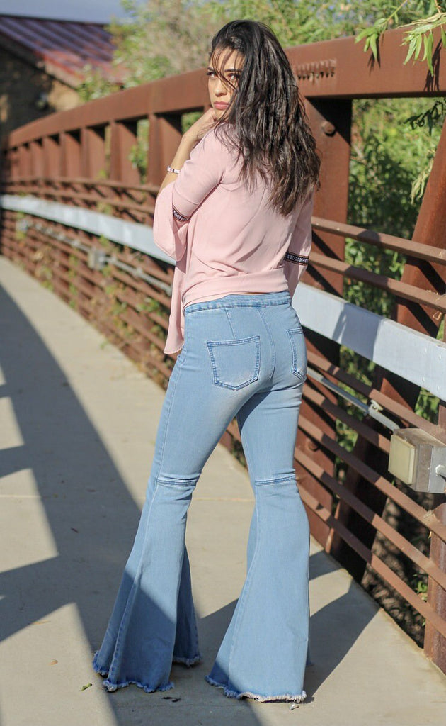 Dare To Flare High Waisted Bell Bottom Light Blue Jeans - SURELYMINE