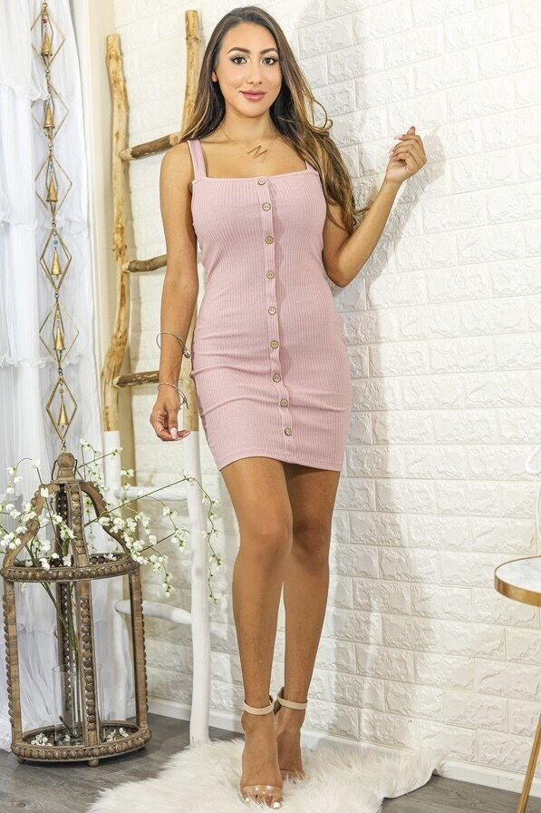 Sammi Ribbed Bodycon Mini Dress with Front Buttons Pink