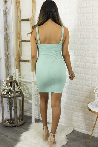 Sammi Ribbed Bodycon Mini Dress with Front Buttons Mint
