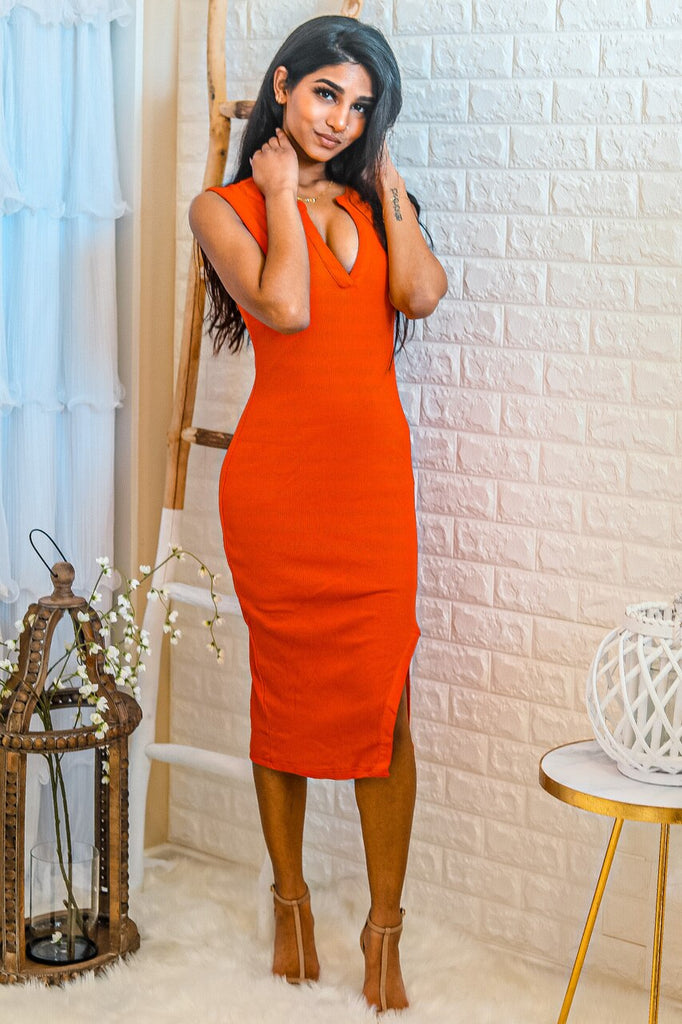 Red Flavor Ribbed V Neck Midi Dress with Front Slit - SURELYMINE