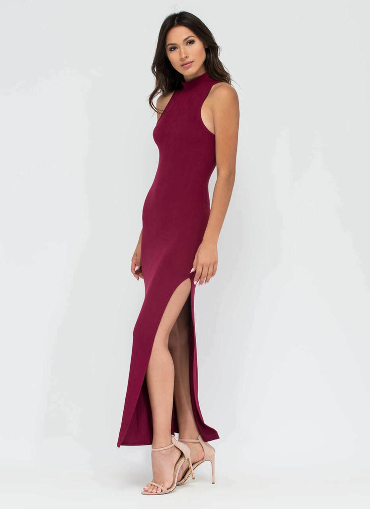 Vivica Essential High Slit Maxi Dress Burgundy