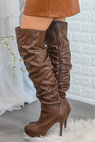 Walking Star Faux Leather Boots Brown