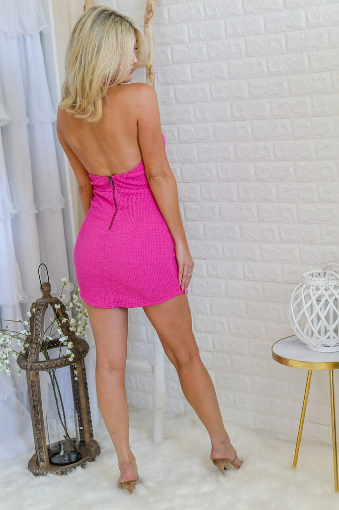 Hushed Kiss Ribbed Mini Dress
