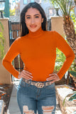 Annie Long Sleeves Ribbed Fitted Turtle Neck Sweater Top Rust