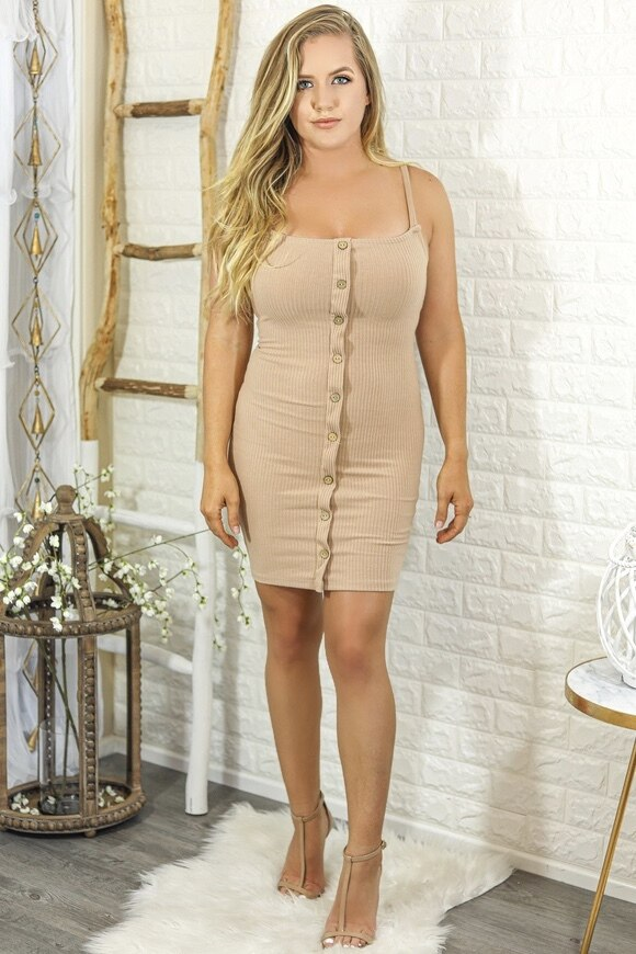 Sammi Ribbed Bodycon Mini Dress with Front Buttons Tan