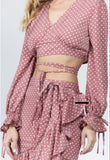 Scarlet Polka Dot Top and Skirt Set Dusty Pink