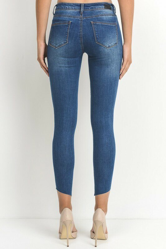 All Cut Out Denim Jeans with diagonal clean cut legs - SURELYMINE