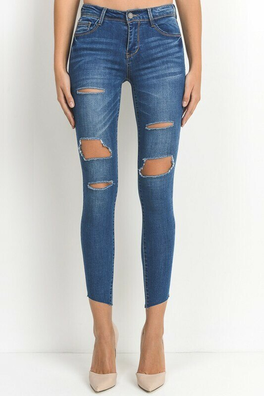 All Cut Out Denim Jeans with diagonal clean cut legs