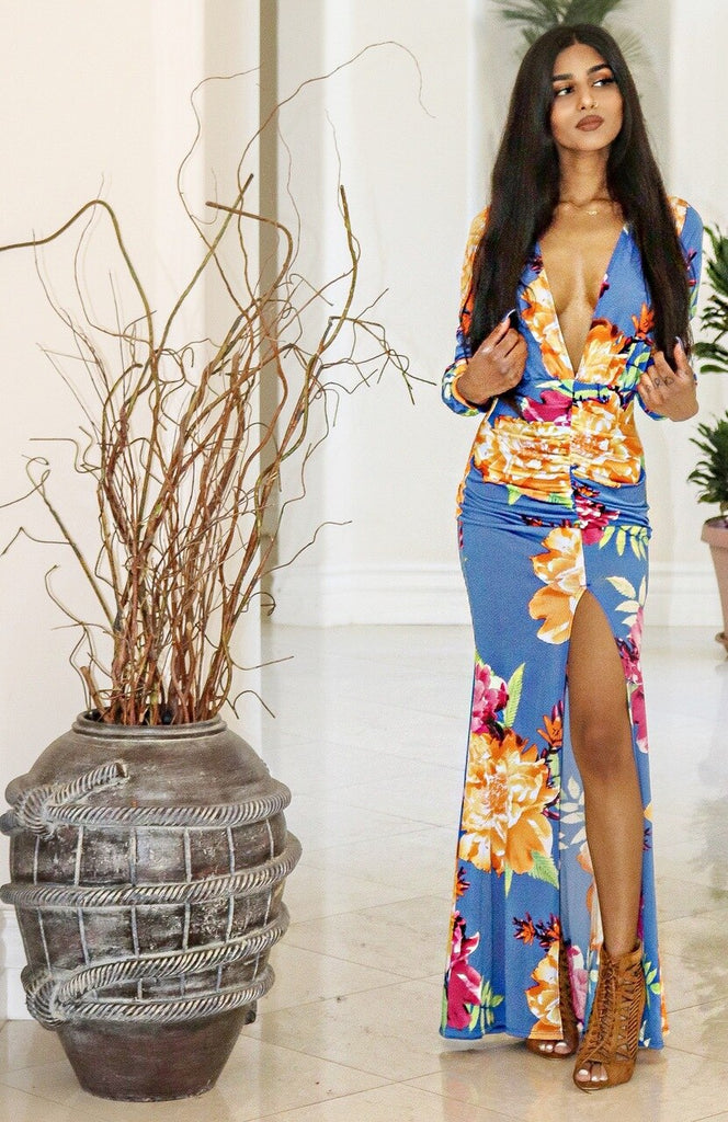 Myra Deep V Neck Long Sleeves Bodycon Floral Maxi Dress With Slit - SURELYMINE
