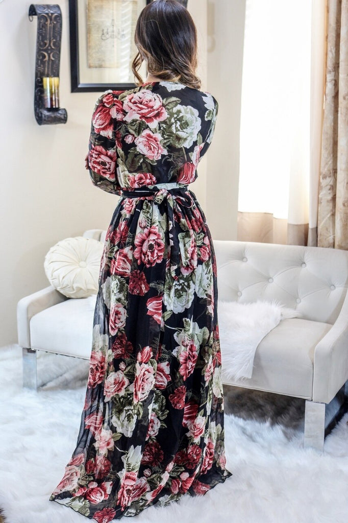 Michal Floral Long Bell Sleeves Maxi Dress in Black - SURELYMINE