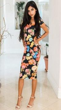 Spring Has Sprung Off The Shoulder Floral Print Body-con Midi Dress Black - SURELYMINE