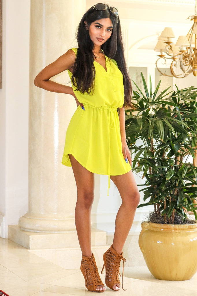 Kelly Sleeveless  V-cut dress with banded waist Lime