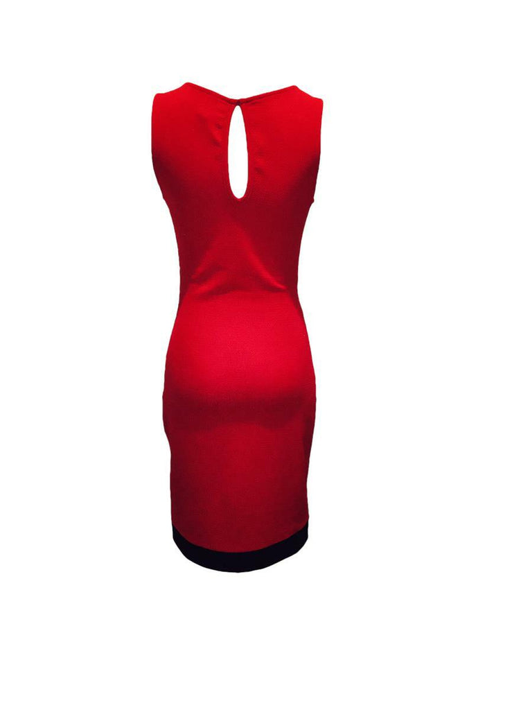 Asymmetrical Belted Bodycon Midi Dress Red