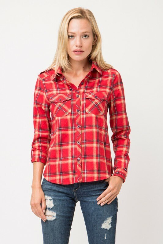 Love Sleeves Check Pattern Shirt - SURELYMINE