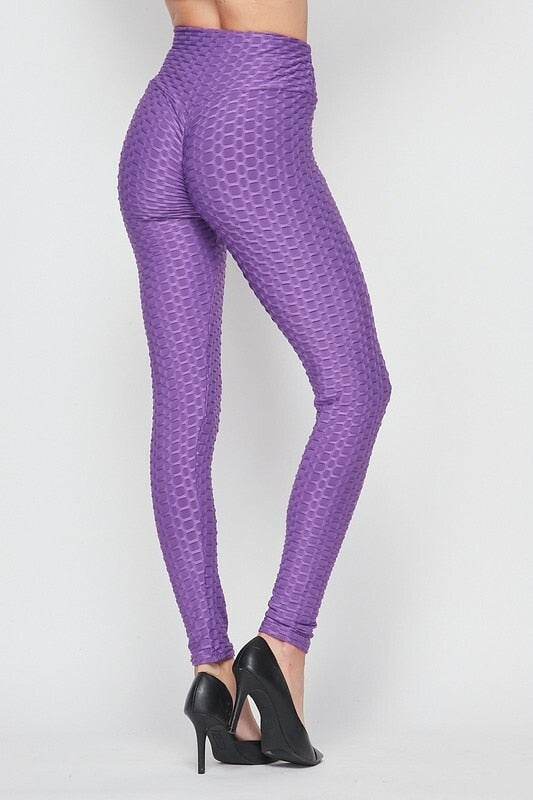 Kylie Scrunch Butt Anti Cellulite Honeycomb Texture Leggings Purple - SURELYMINE