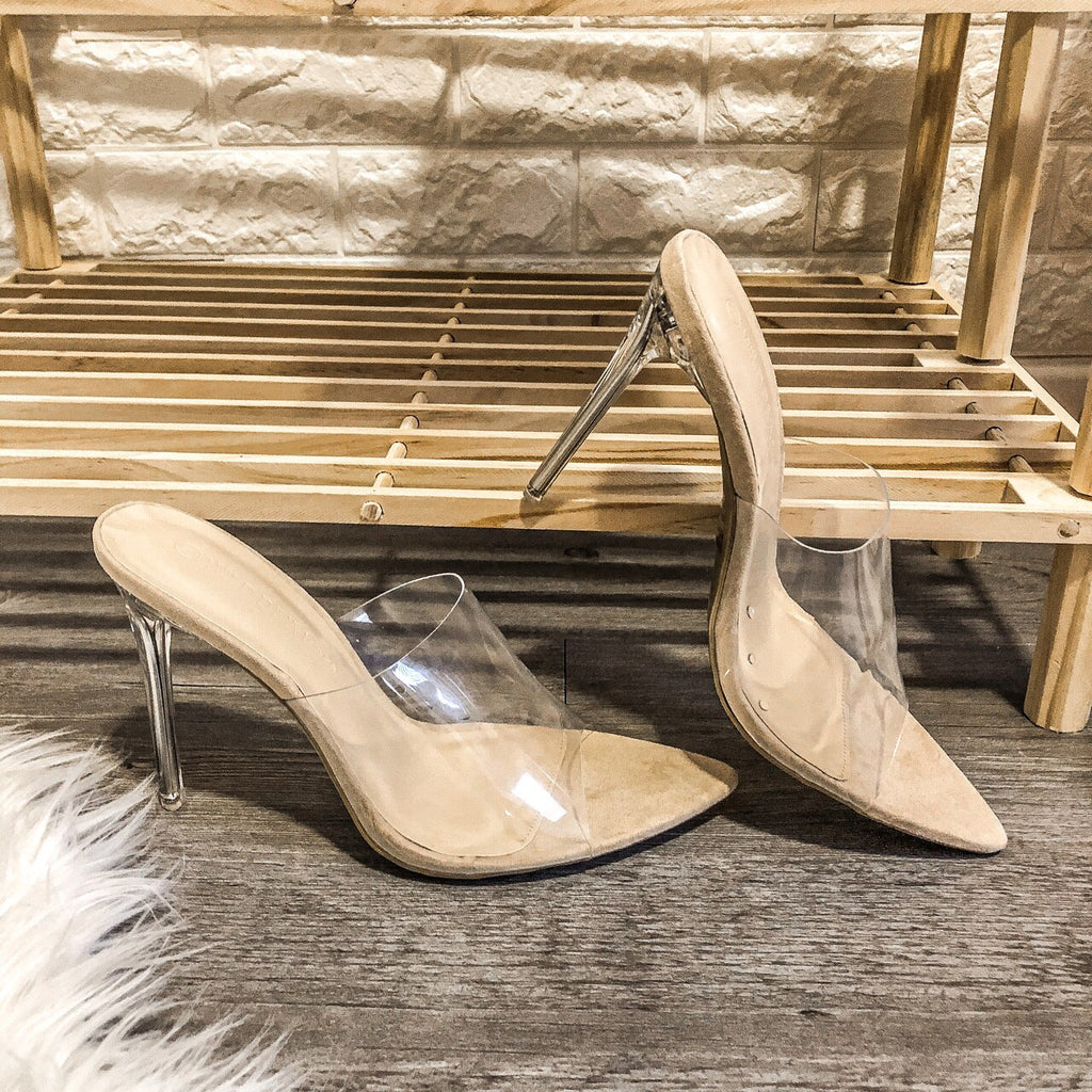 Clarissa Nude Clear Upper High Heels Stilettos