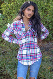 Plaid Flannel Long Sleeve Button Green Tint shirts - SURELYMINE