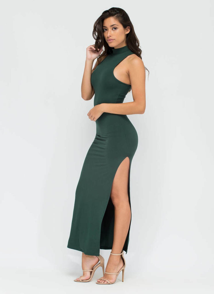 Vivica Essential High Slit Maxi Dress Hunter Green - SURELYMINE
