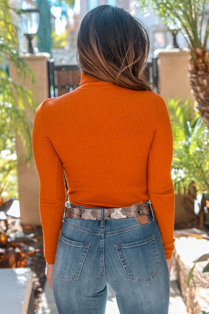 Annie Long Sleeves Ribbed Fitted Turtle Neck Sweater Top Rust - SURELYMINE