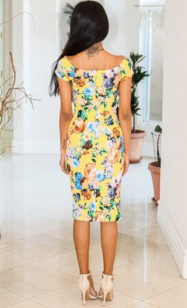 Spring Has Sprung Off The Shoulder Floral Print Body-con Midi Dress Yellow - SURELYMINE