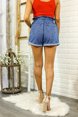 Wrap Me Paper Bag Distressed Denim Shorts