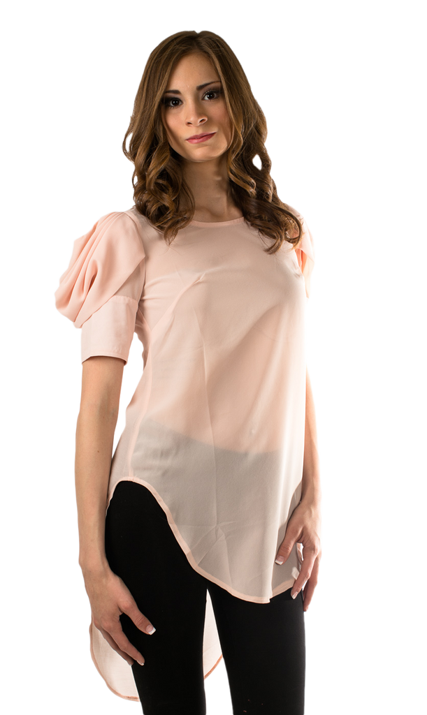 Dusty Rose Puff Sleeves High Low Blouse - SURELYMINE