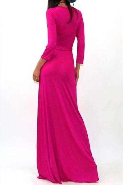 Quarter Sleeves Faux Wrap Maxi Dress Pink