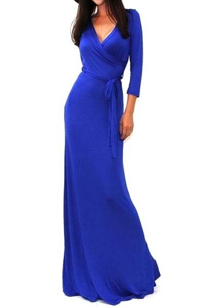 Quarter Sleeves Faux Wrap Maxi Dress Blue - SURELYMINE