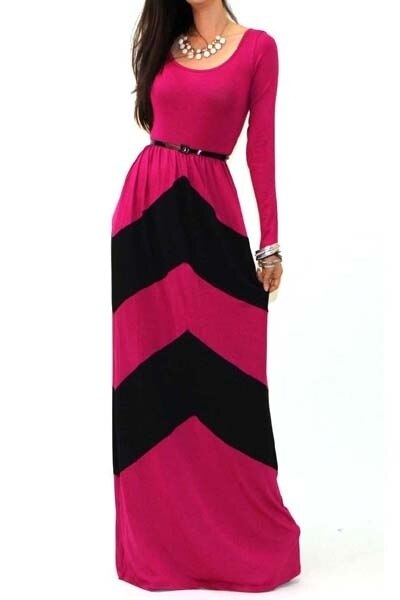 Color block Chevron Long Sleeve Maxi Dress Fuchsia - SURELYMINE