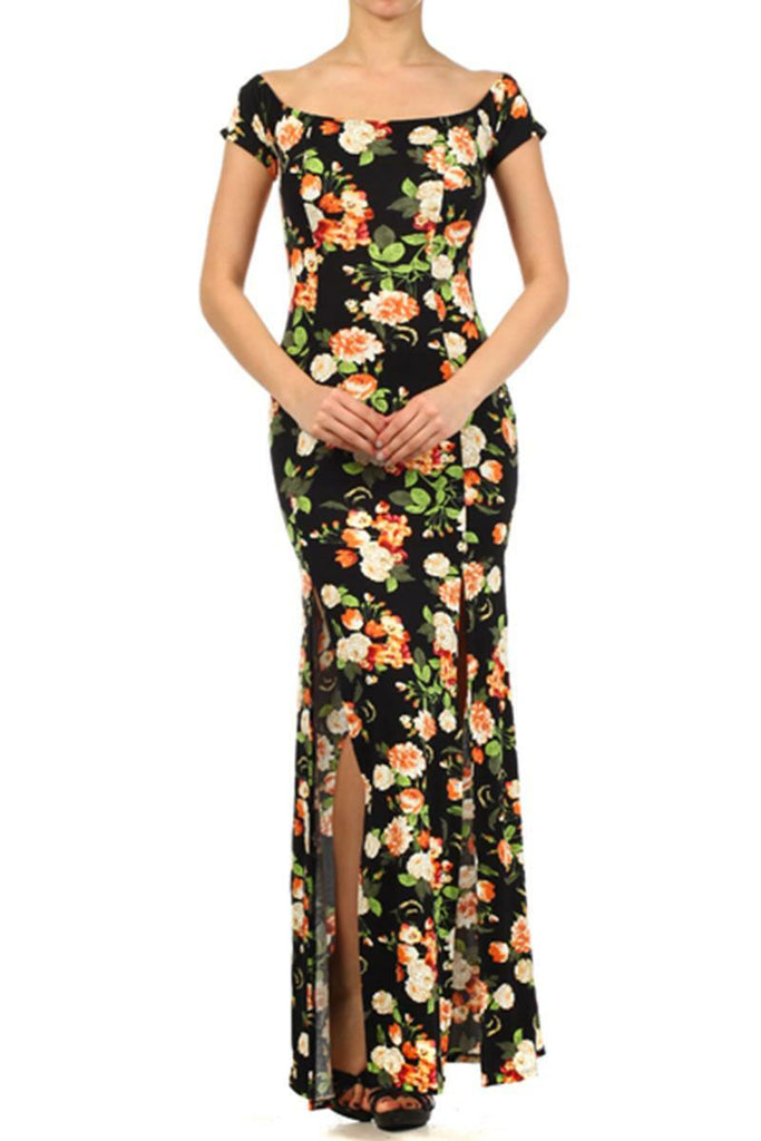 Floral Print Full Length Dress with Two Skirt Slits Black
