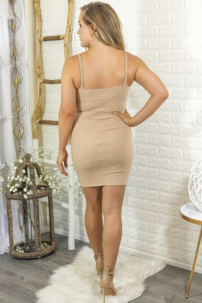 Sammi Ribbed Bodycon Mini Dress with Front Buttons Tan - SURELYMINE