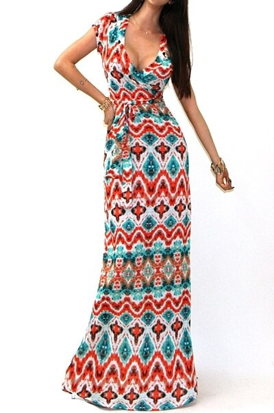 Short Sleeves Faux Wrap Maxi Dress Multi - SURELYMINE