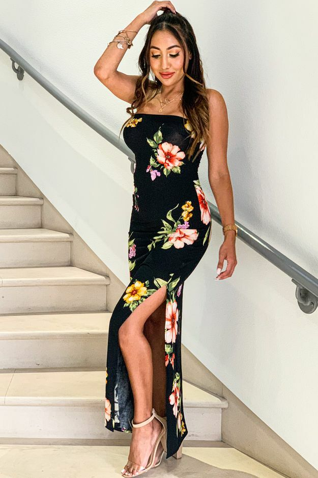 Floral Story Tube Maxi Dress with Side Slit Black