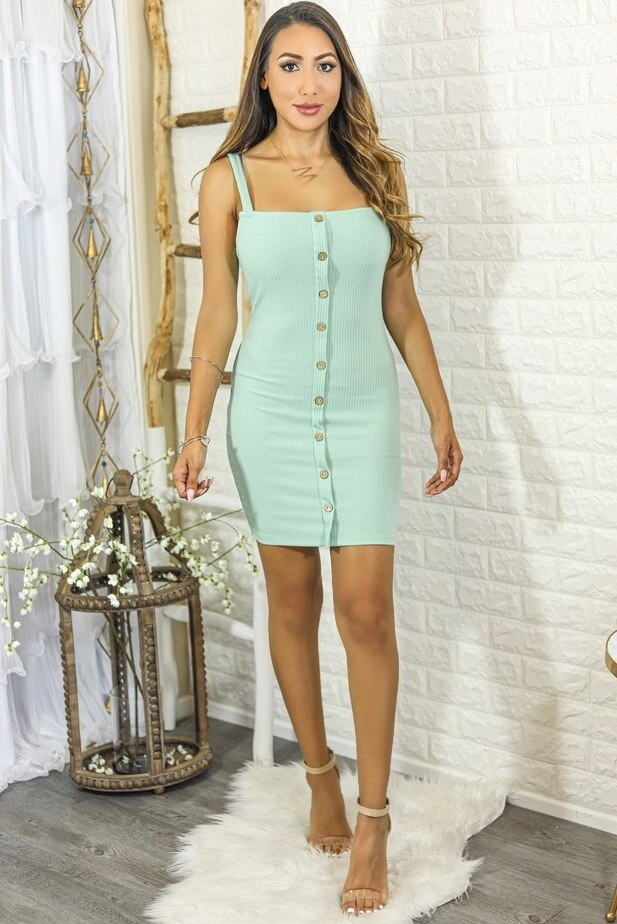 Sammi Ribbed Bodycon Mini Dress with Front Buttons Mint - SURELYMINE