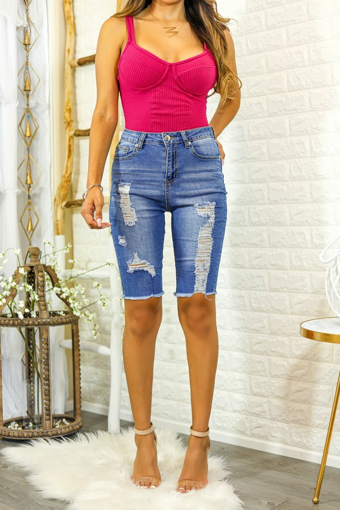 Baily Bermuda Distressed Denim Shorts