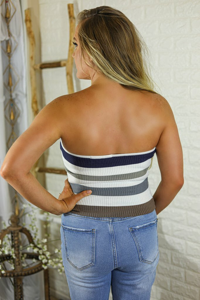 Bria Multi Ribbed knit Stripe Tube Strapless  Grey Tones Top