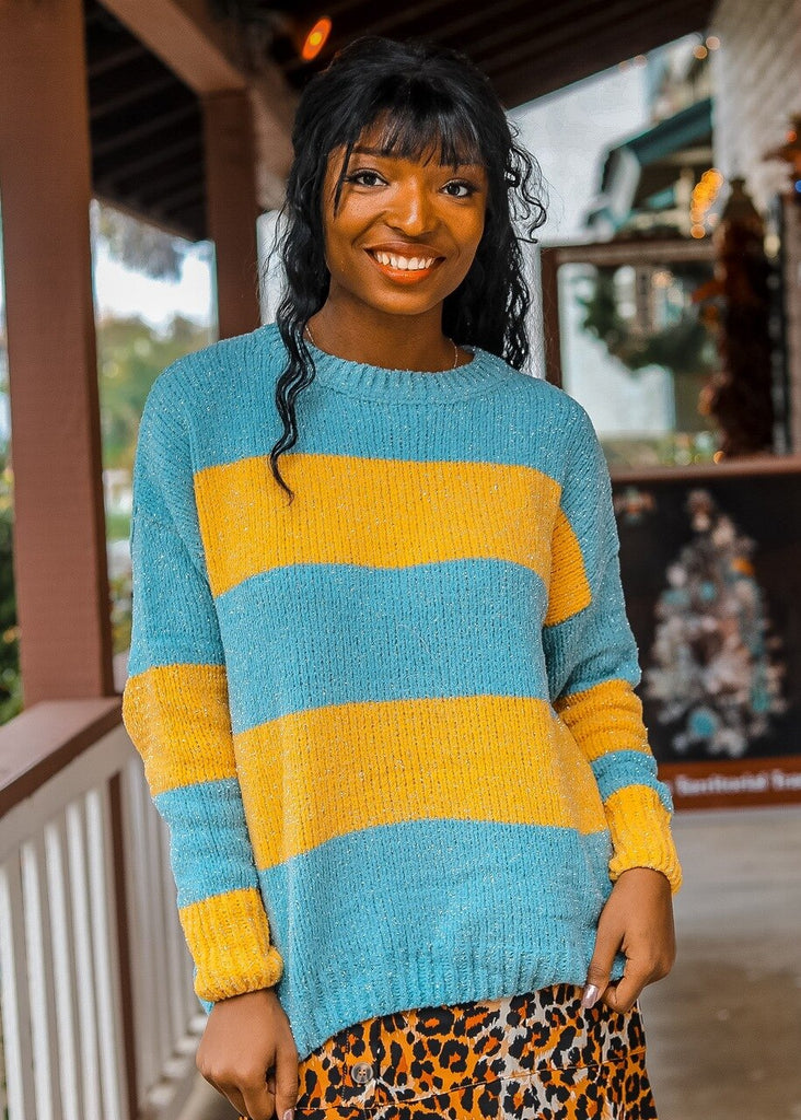 Down The Block Long Sleeve Colorblock Striped Lurex Sweater - SURELYMINE