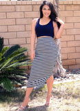 Stripped Slit Maxi Skirt