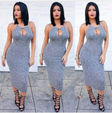 Ribbed Knit Keyhole Bodycon Midi Dress - SURELYMINE