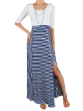 Stripe Maxi With Criss Cross Back Detail Blue