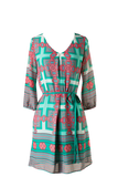 Beautiful Print Belted Shift Dress - SURELYMINE