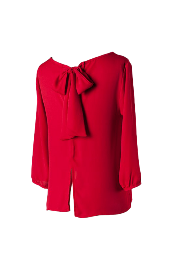 Gorgeous Red Back Bow Blouse - SURELYMINE