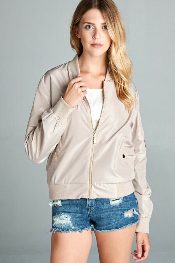 Light Weight Bomber Jacket Nude - SURELYMINE
