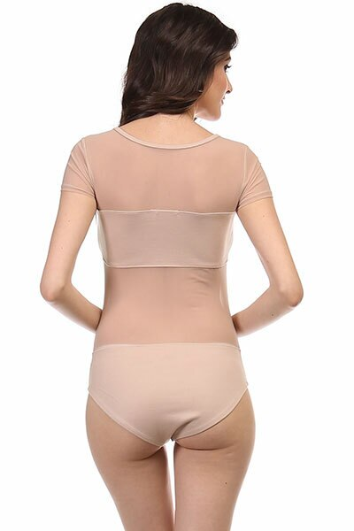 Short Sleeves Mesh Cut Out Bodysuit Nude - SURELYMINE