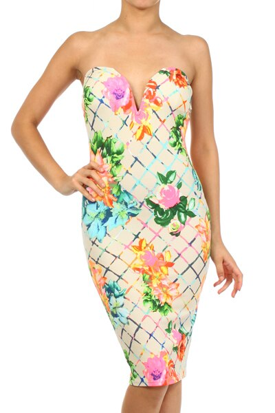 Floral Print Strapless Sweetheart Neck Body-con Dress - SURELYMINE