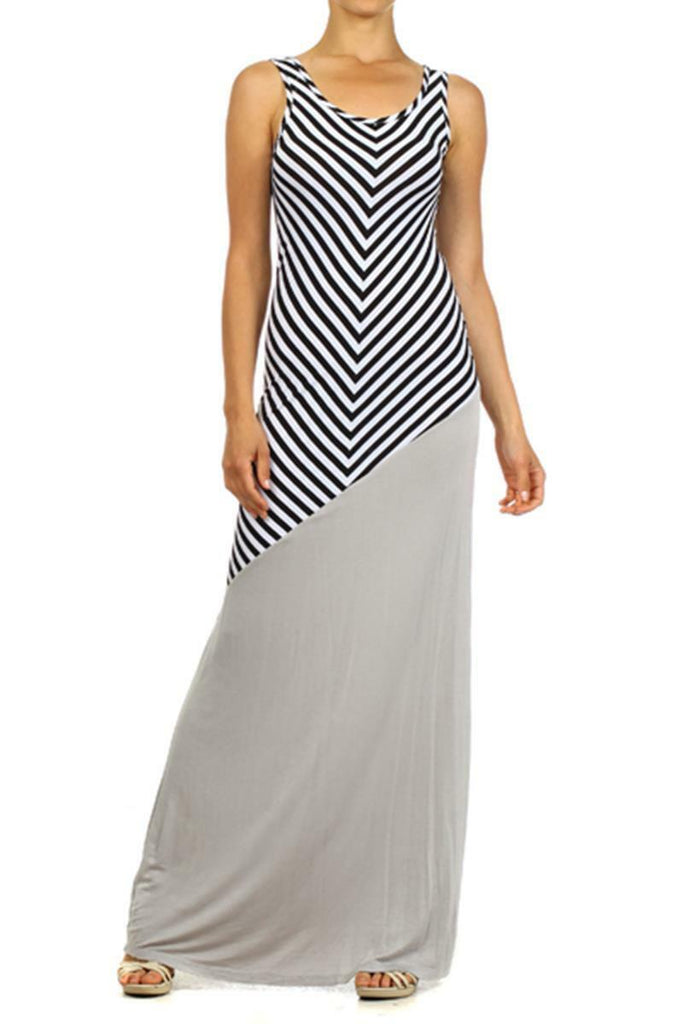 Stripe and solid Sleeveless Scoop Neck Maxi Dress With Low Back