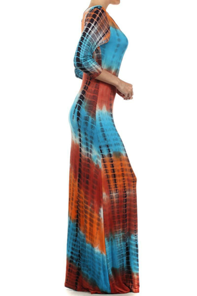 Tie Dye Scook Neck 3/4 Sleeves Full Length Maxi Dress - SURELYMINE