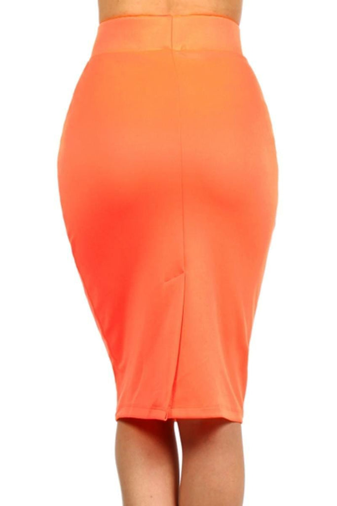 Basic High waist Pencil Skirt Orange - SURELYMINE