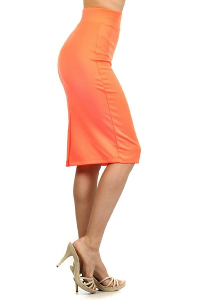 Basic High waist Pencil Skirt Orange
